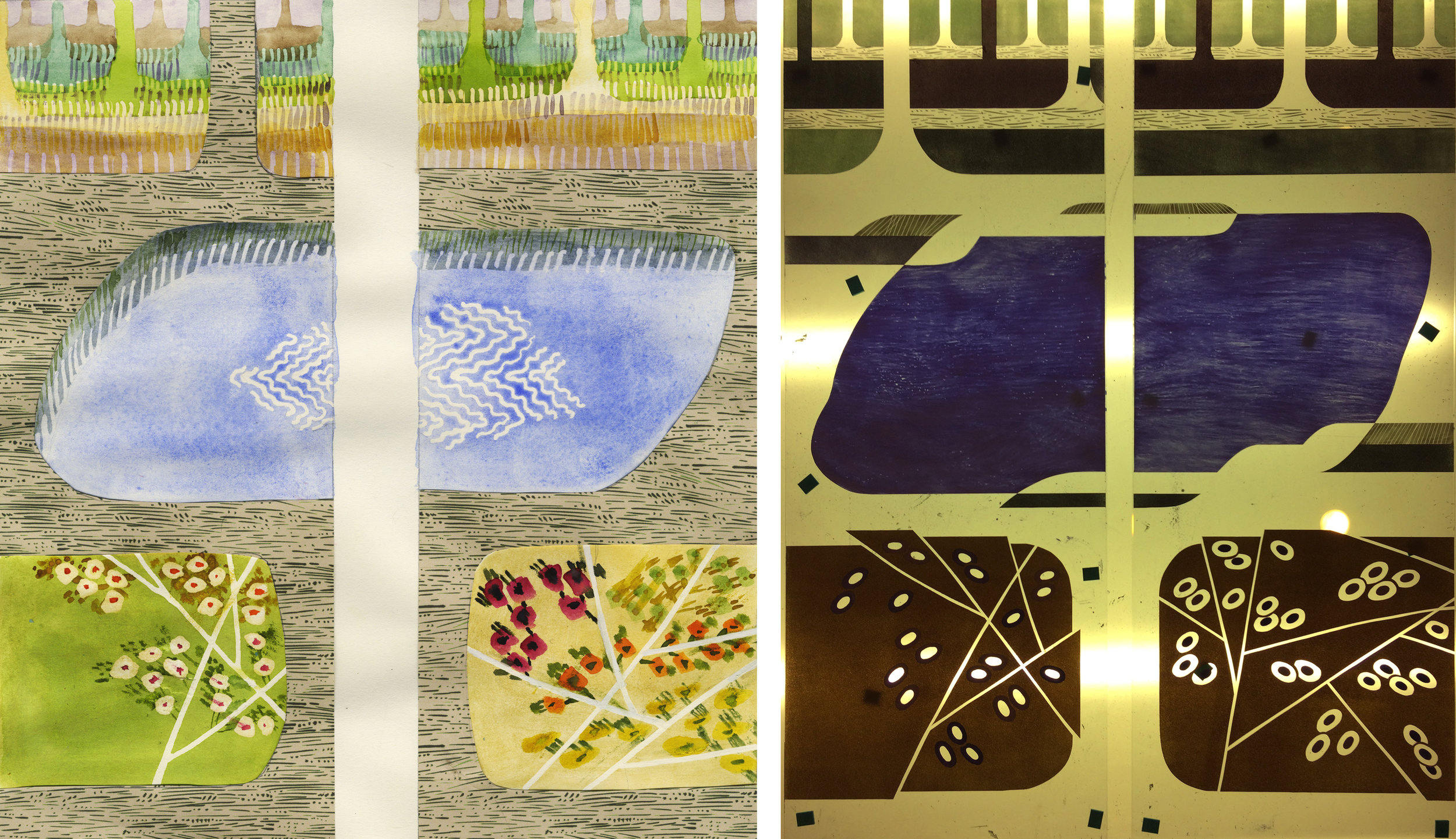 Panels 1 & 2. Left watercolour/collage, right glass panels on the lightbox before firing.