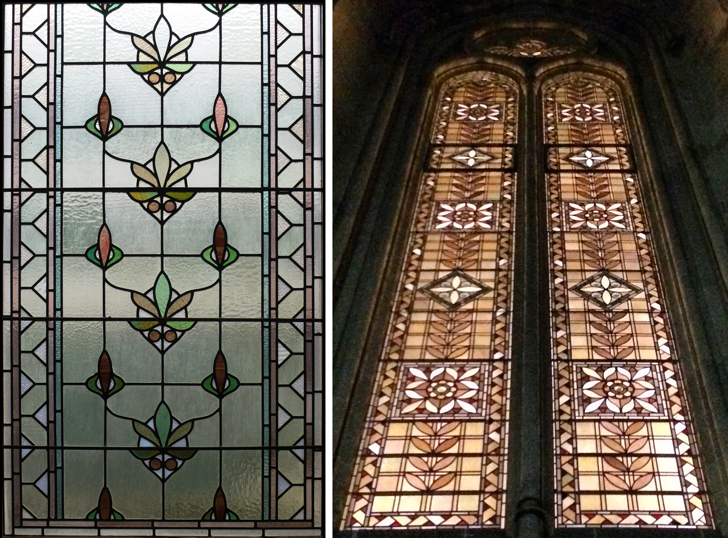 Leaded lights in Whitworth Hall, University of Manchester