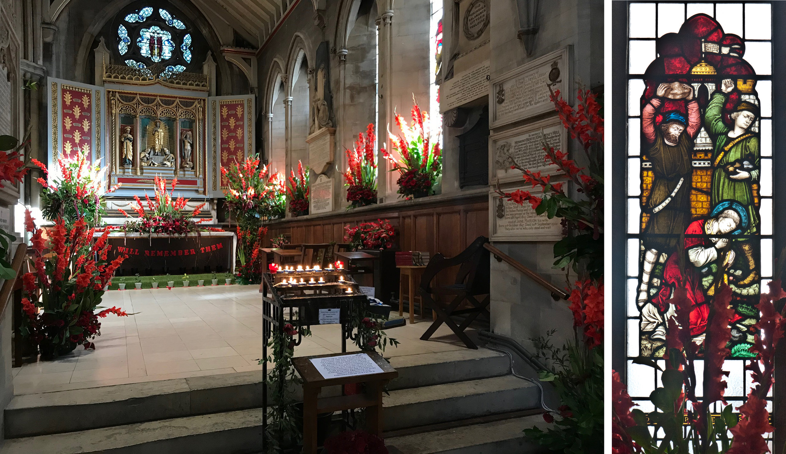 Left: The Resurrection Chapel. Right: Gladioli and Stephen stoned by Clayton & Bell (1870s)