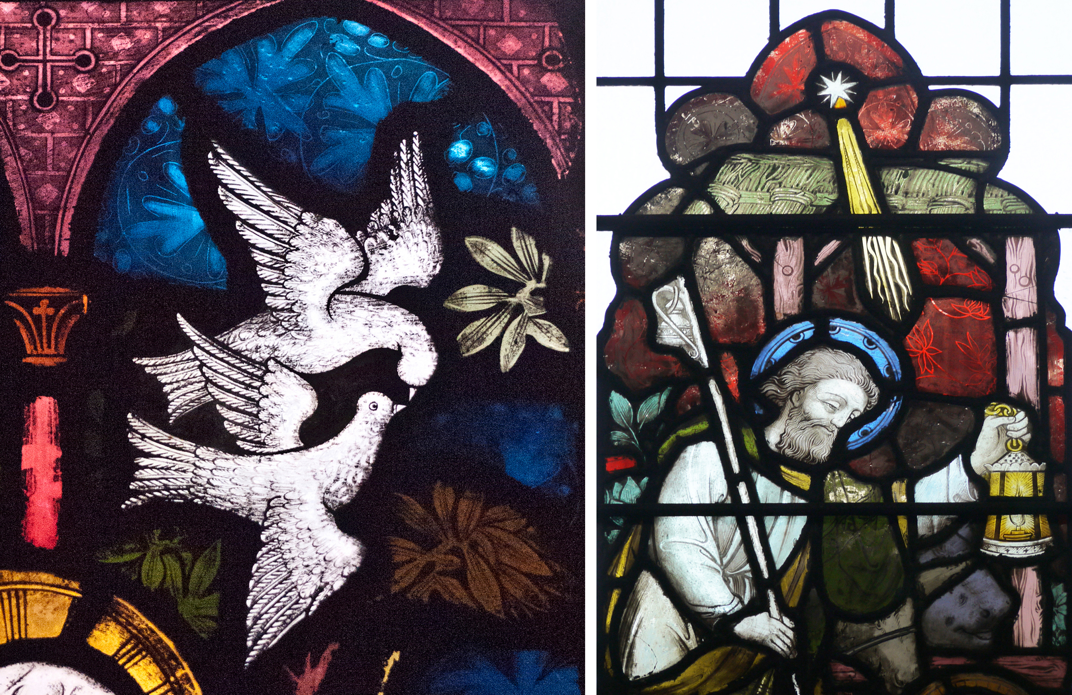 Left: detail from window of St Timothy. Right: detail from nativity window.