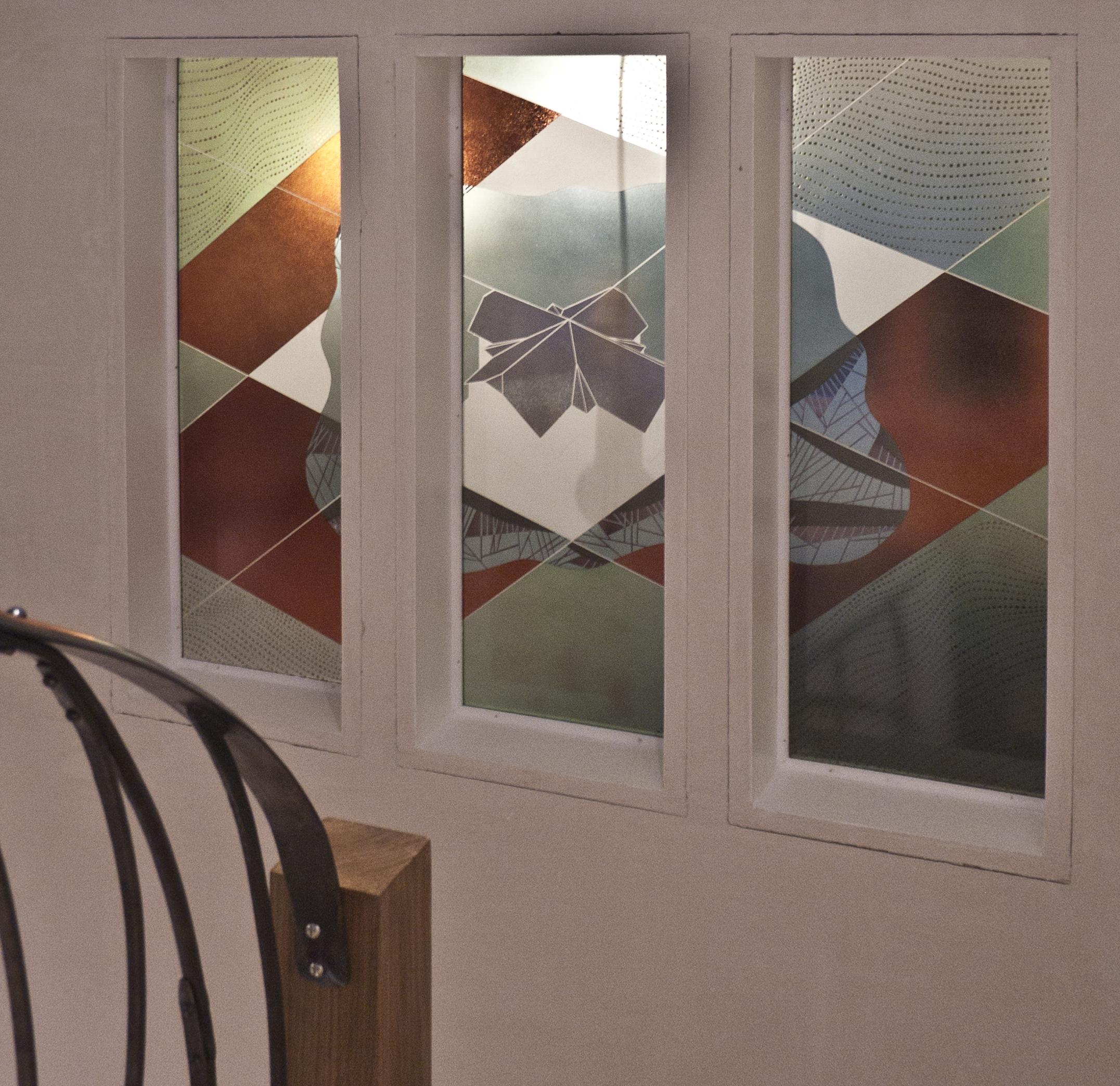 Staircase windows, each panel 880 x 300 mm