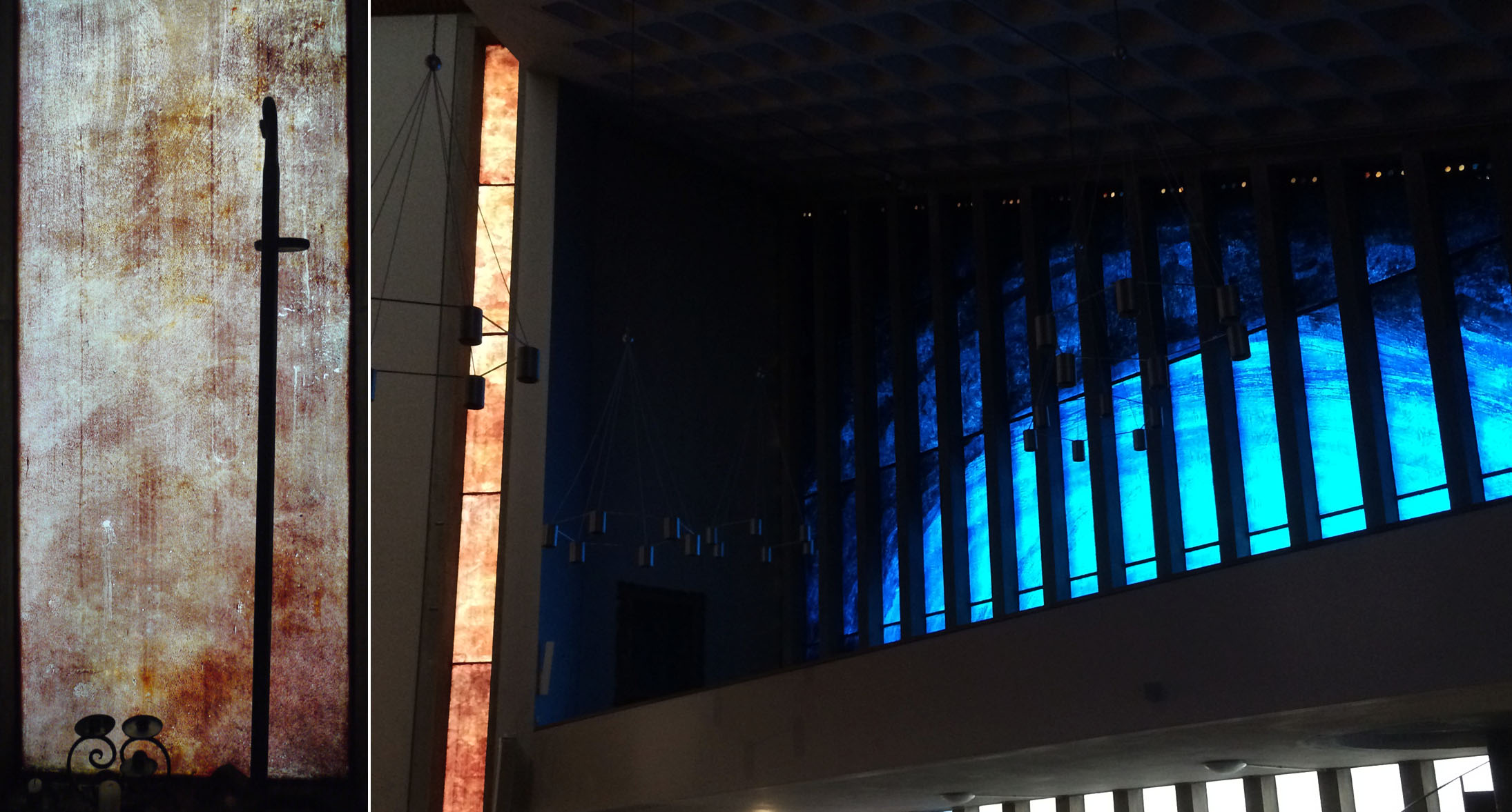 Detail of east window and blue windows in the elevated Lady Chapel.