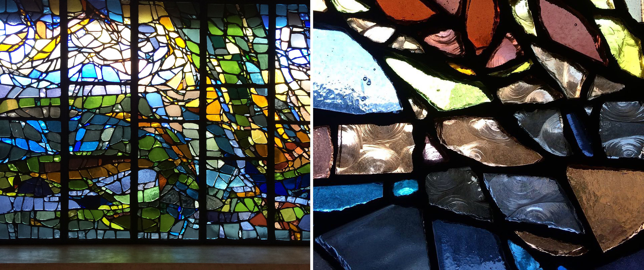 Detail of left hand window and close up of the chunks of glass set in resin.