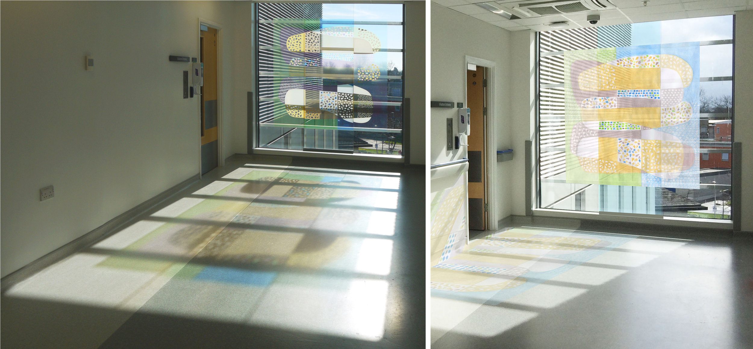 Left: Feature window at the entrance to the paediatric mortuary. Right: Photomontage of the same space.