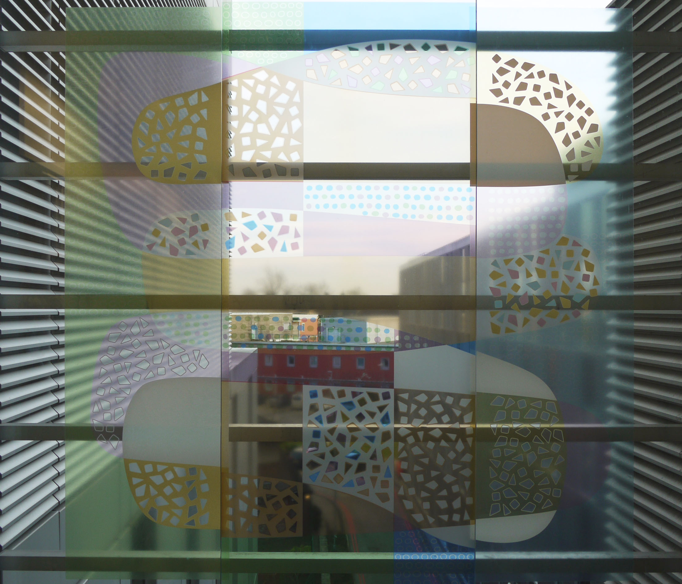 Vinyl/glass/vinyl window at Manchester Children's Hospital: 1800 mm square.