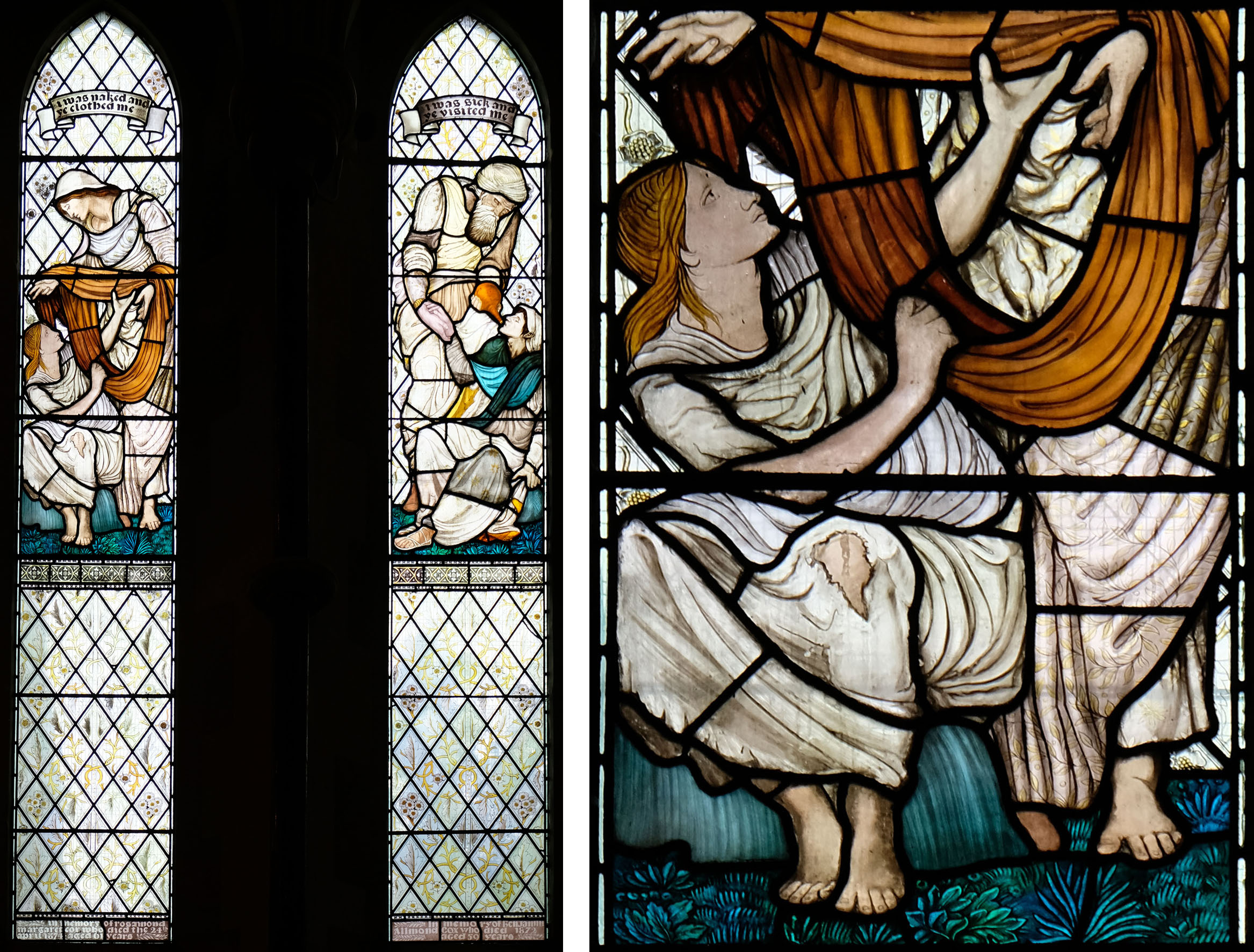 North chancel: Left, Dorcas. Right, The Good Samaritan (1876).