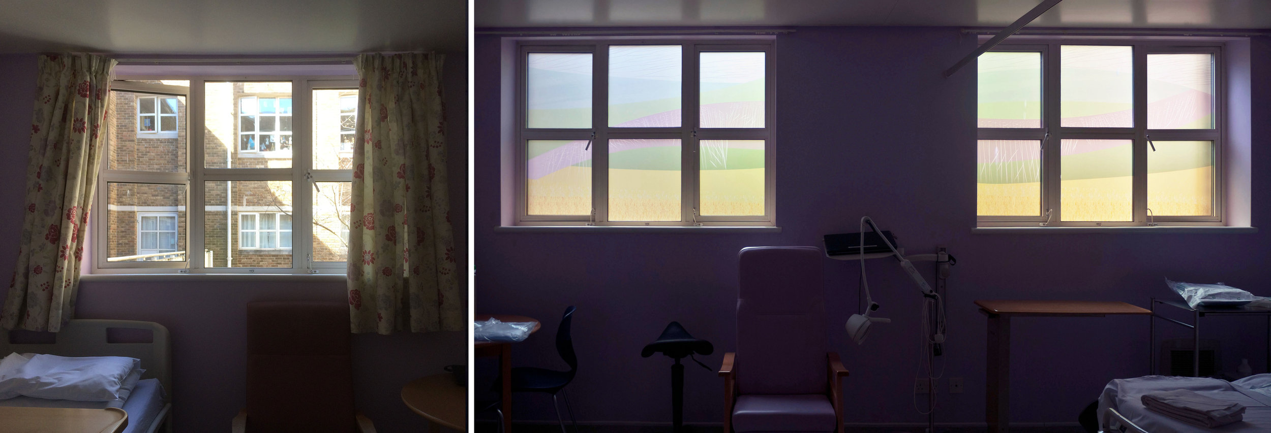 Room 12 - before and after, showing both windows against a pink wall.
