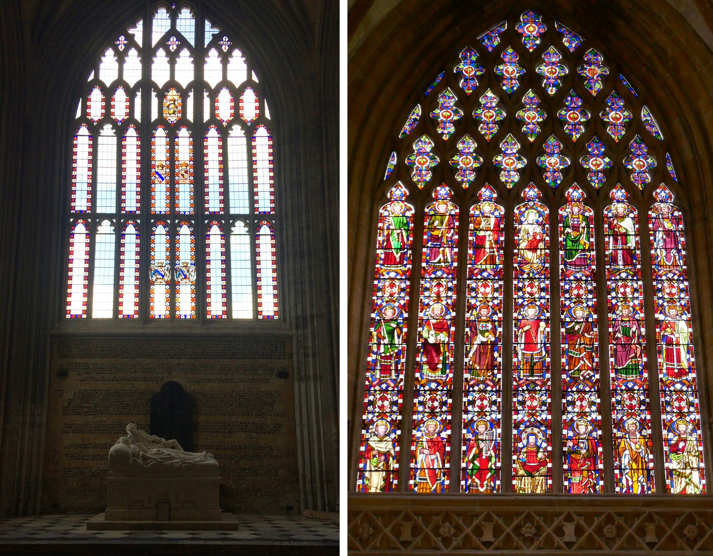 Left, south transept window above monument to Joseph & Caroline Damer. Right, Tree of Jesse window by Pugin, 1847.