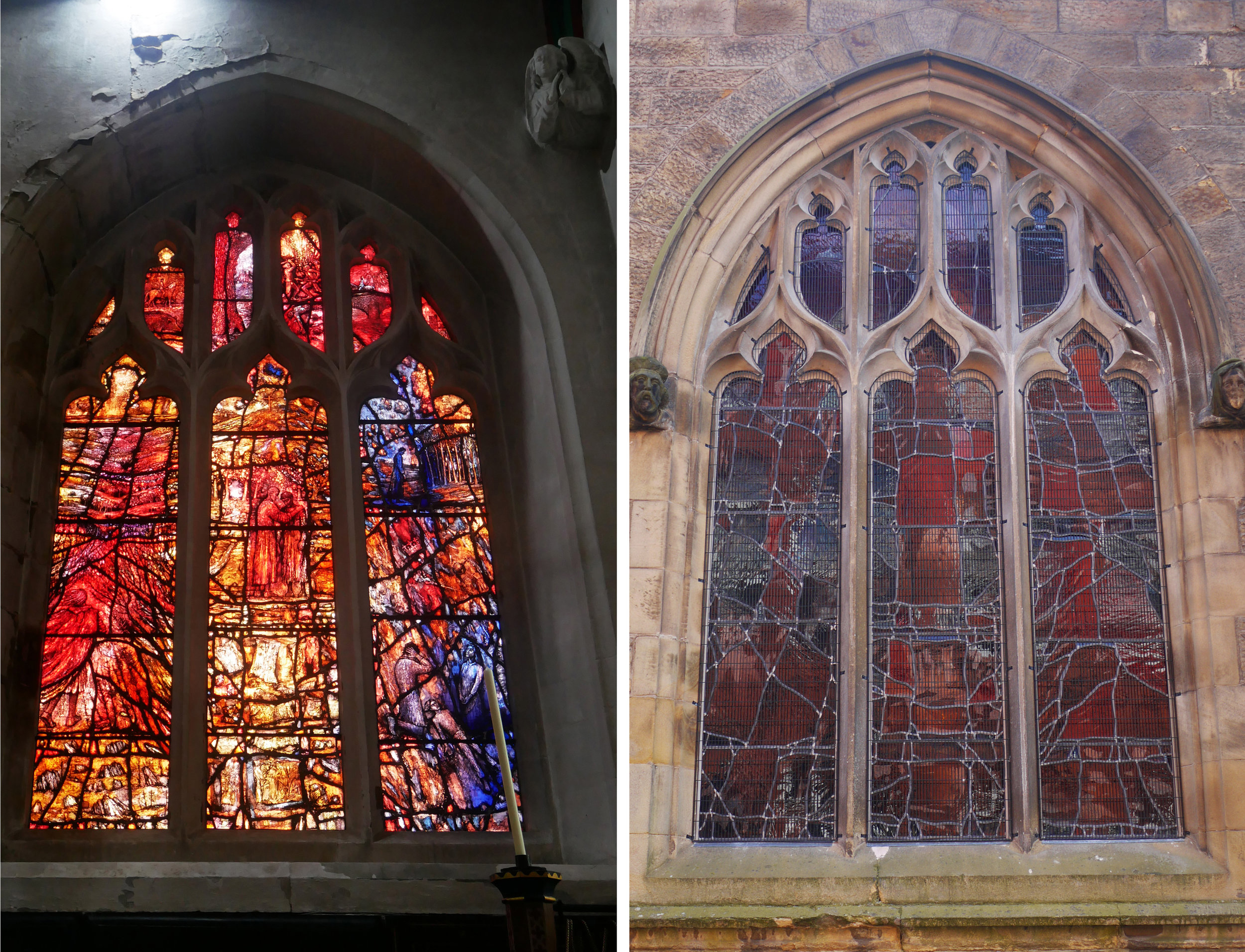 One of two Tom Denny 2016 windows in Leicester Cathedral from the inside and the outside.