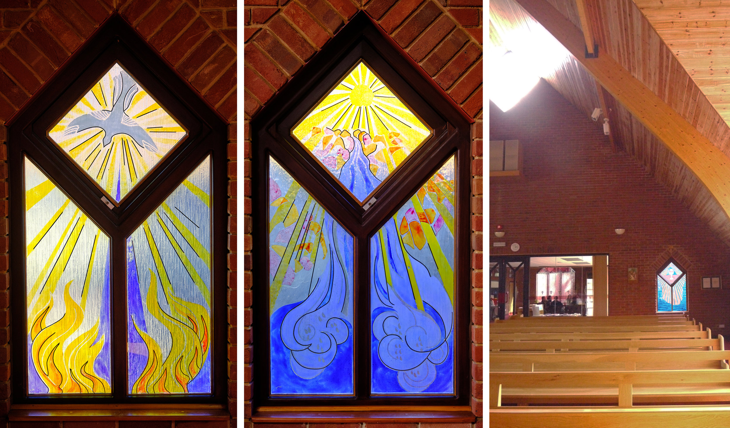 Inside Blessed Robert Griswold Church: 2 existing windows, artist unknown. Photomontage showing my design