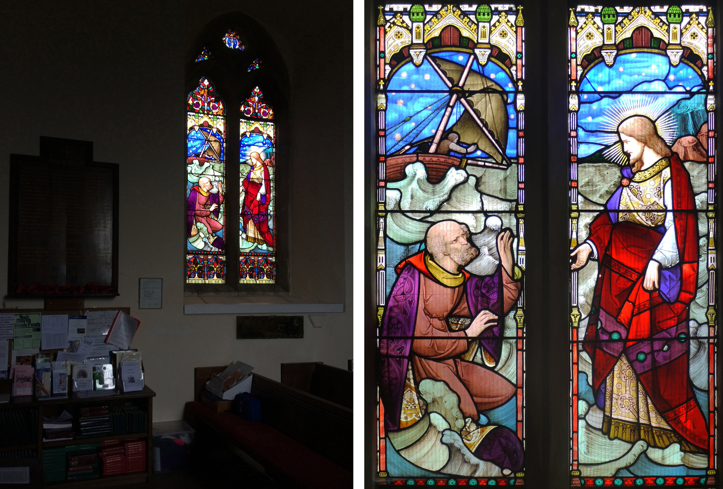 St Mary, Kintbury with window showing Jesus walking on the water by Heaton, Butler and Bayne (1862)