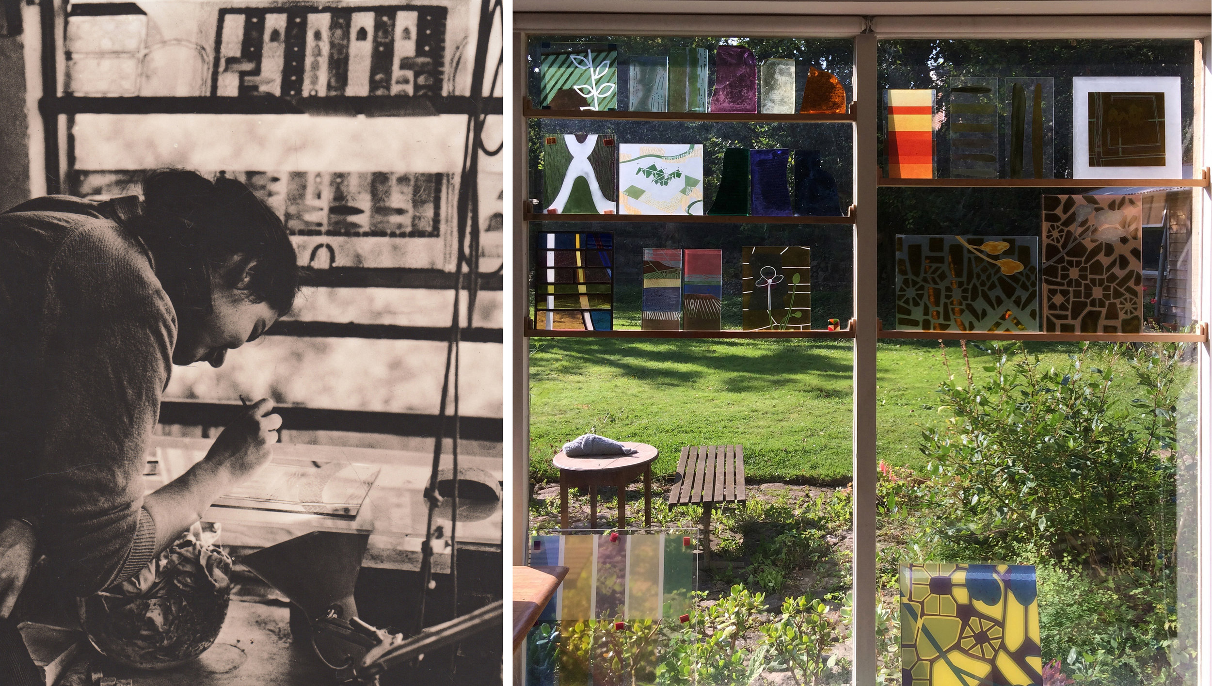 Left, my window at The Royal College of Art in 1985. Right, my studio window this week (2019).