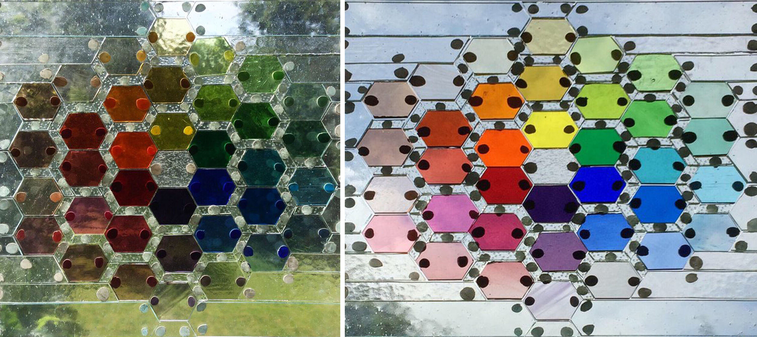 Left, pieces shown against a garden background. Right, pieces shown against a sky background.