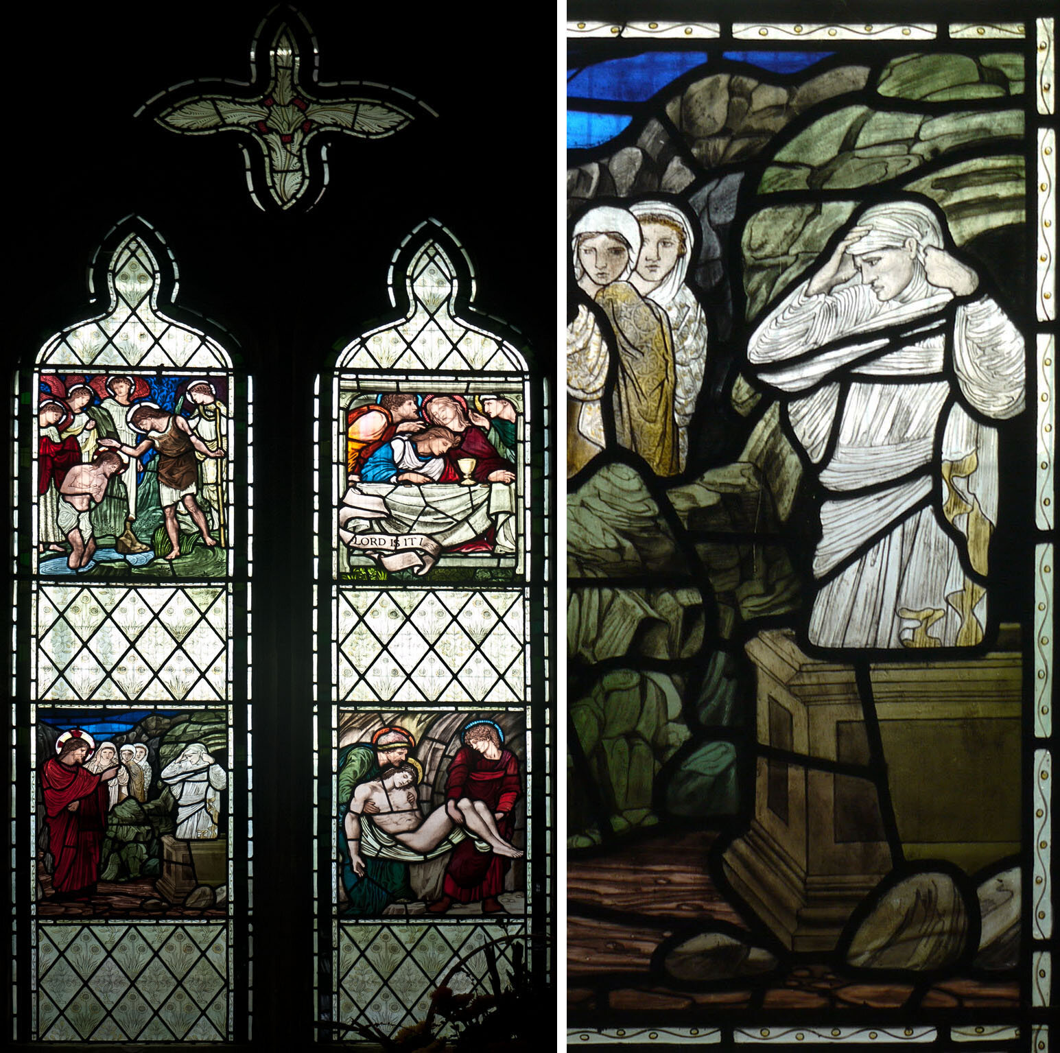 North chancel window, All Saints, Middleton Cheney, with details by Burne-Jones 1892.