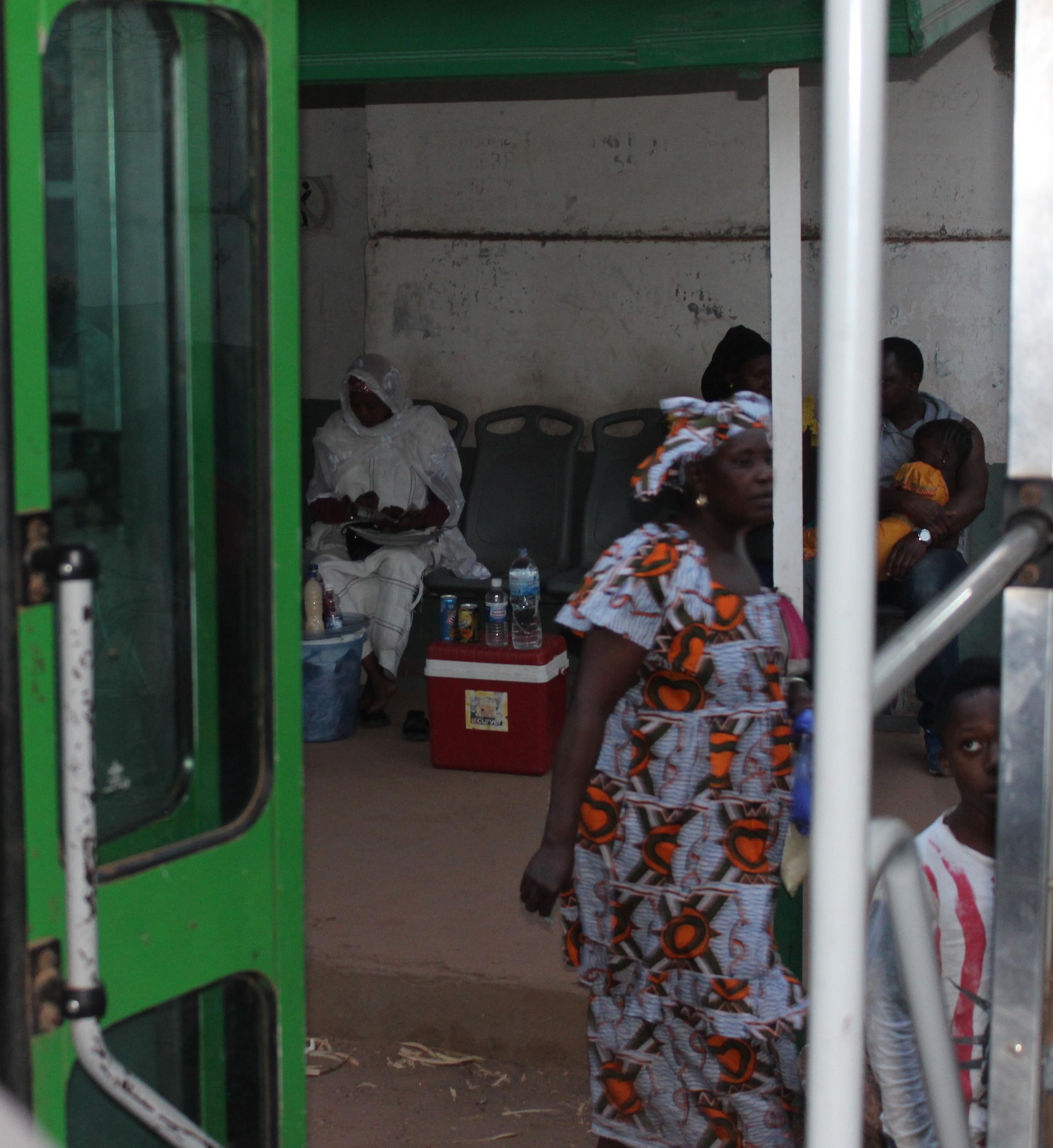 Kamefif bus station near the capital, Banjul.