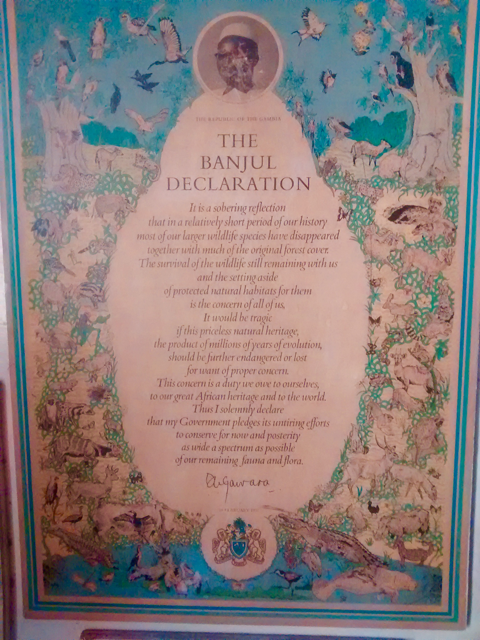 This declaration for conservation is from 1977 made by the President at the time Sir Dawda Kairaba Jawarra. Wise man.
