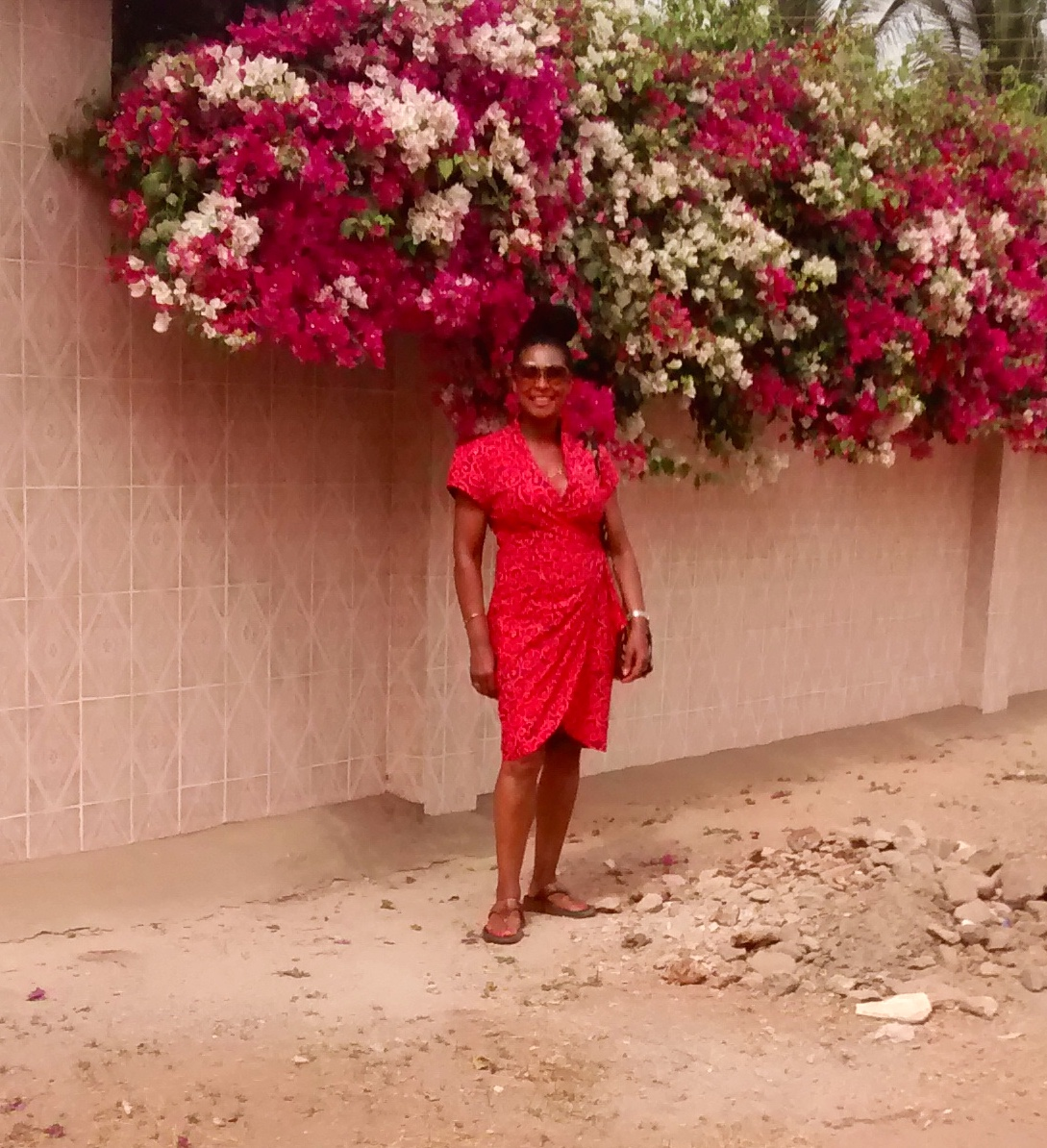 Matching your clothing to your surroundings is an ancient Gambian custom. Honest.