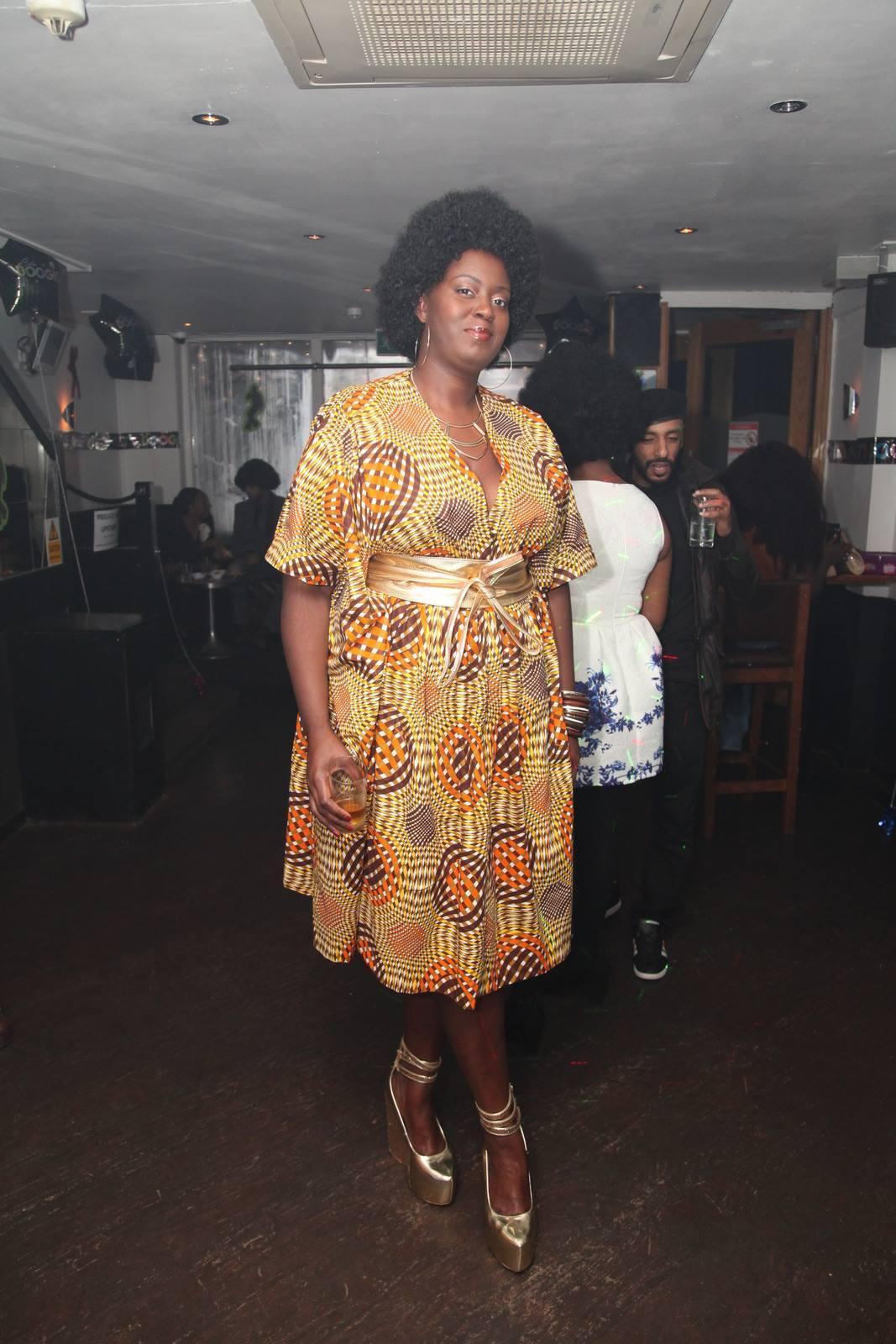 70s style Bespoke Kaftan dress:Reddskin UK. Gold leather Obi belt: Love YaaYaa . Black Girl Magic: Models own.