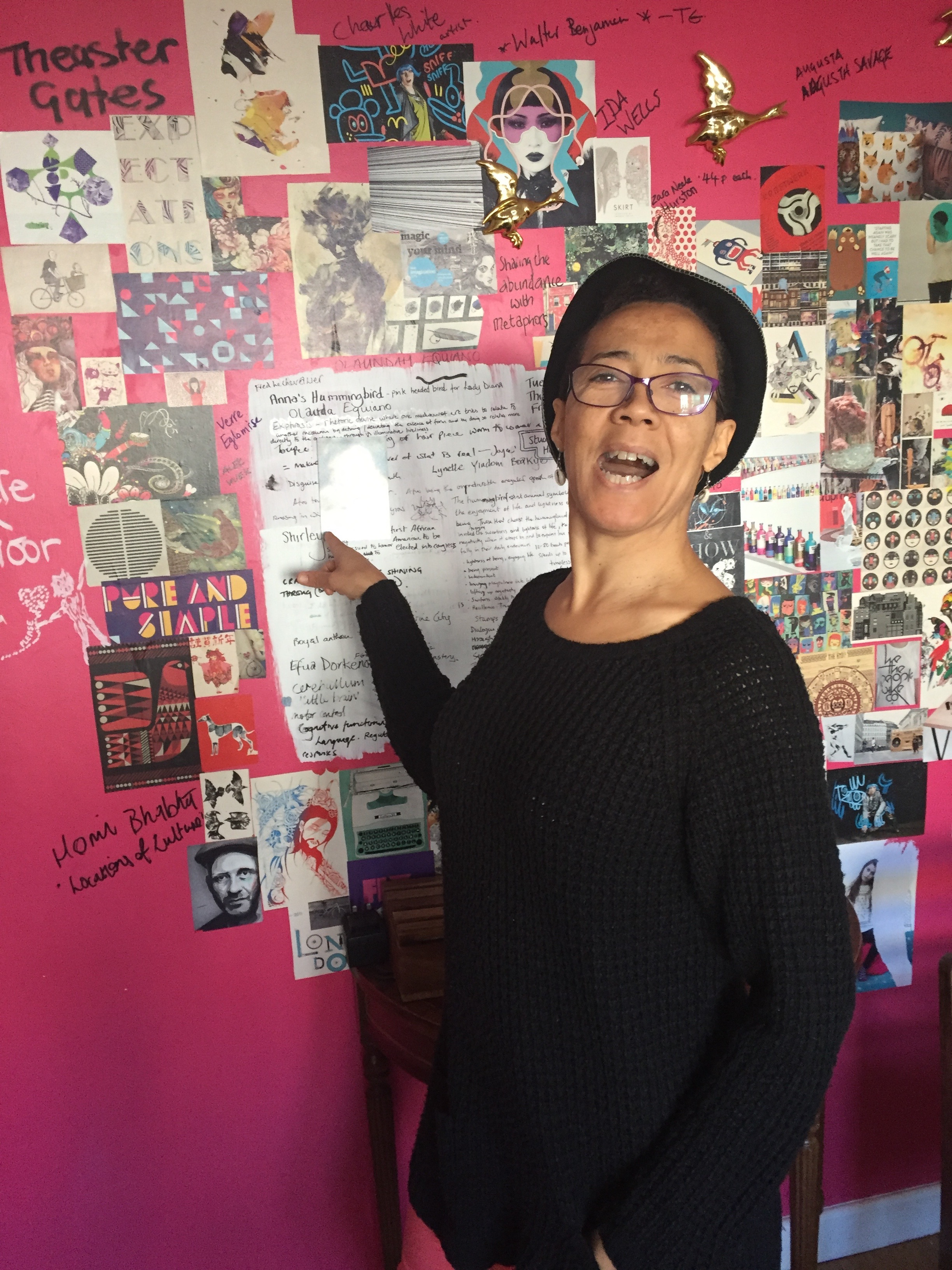 Pontificating in front of Joyces Memory wall.