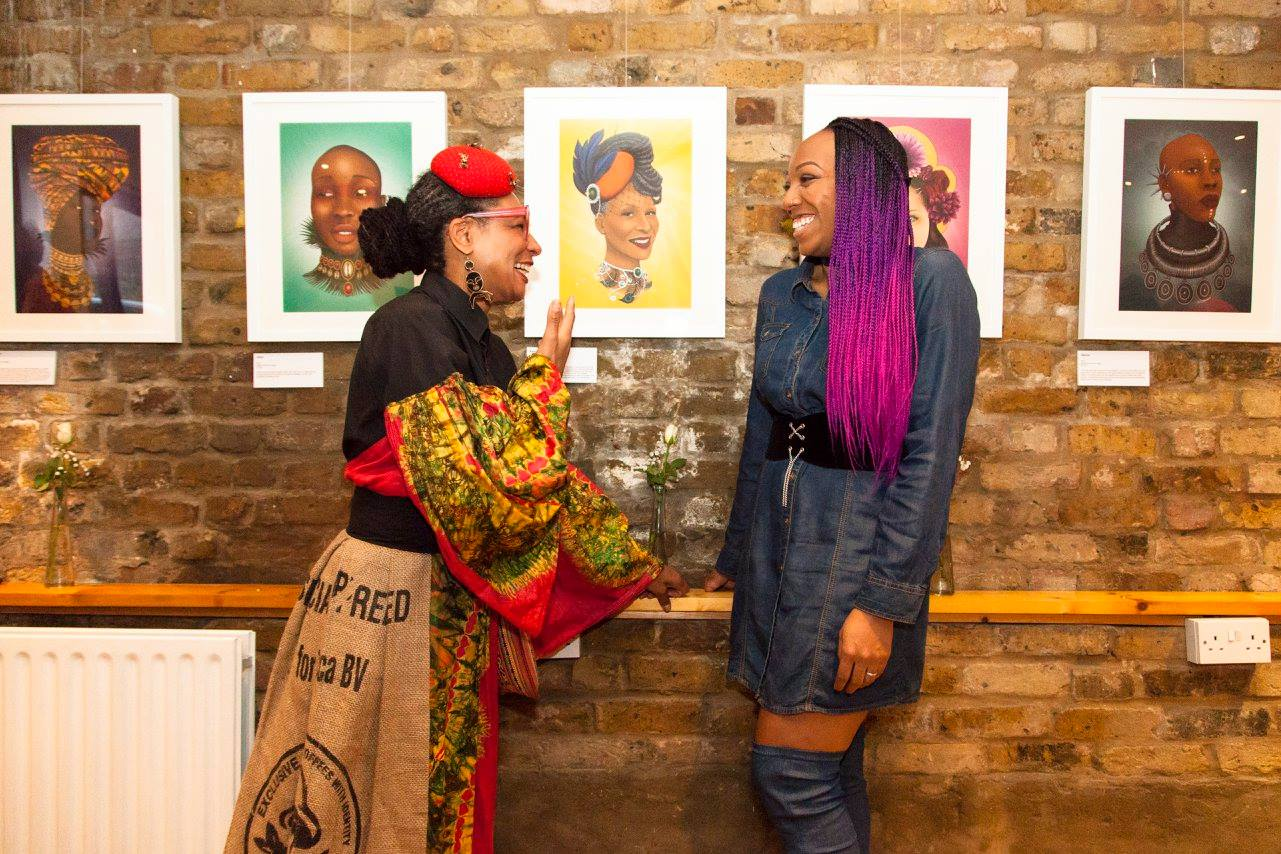 Immortalised by Merissa Hylton. What an honour! Catching jokes at her inaugural Art exhibition 'Cosmic Queens' at Zenubian. March 2018