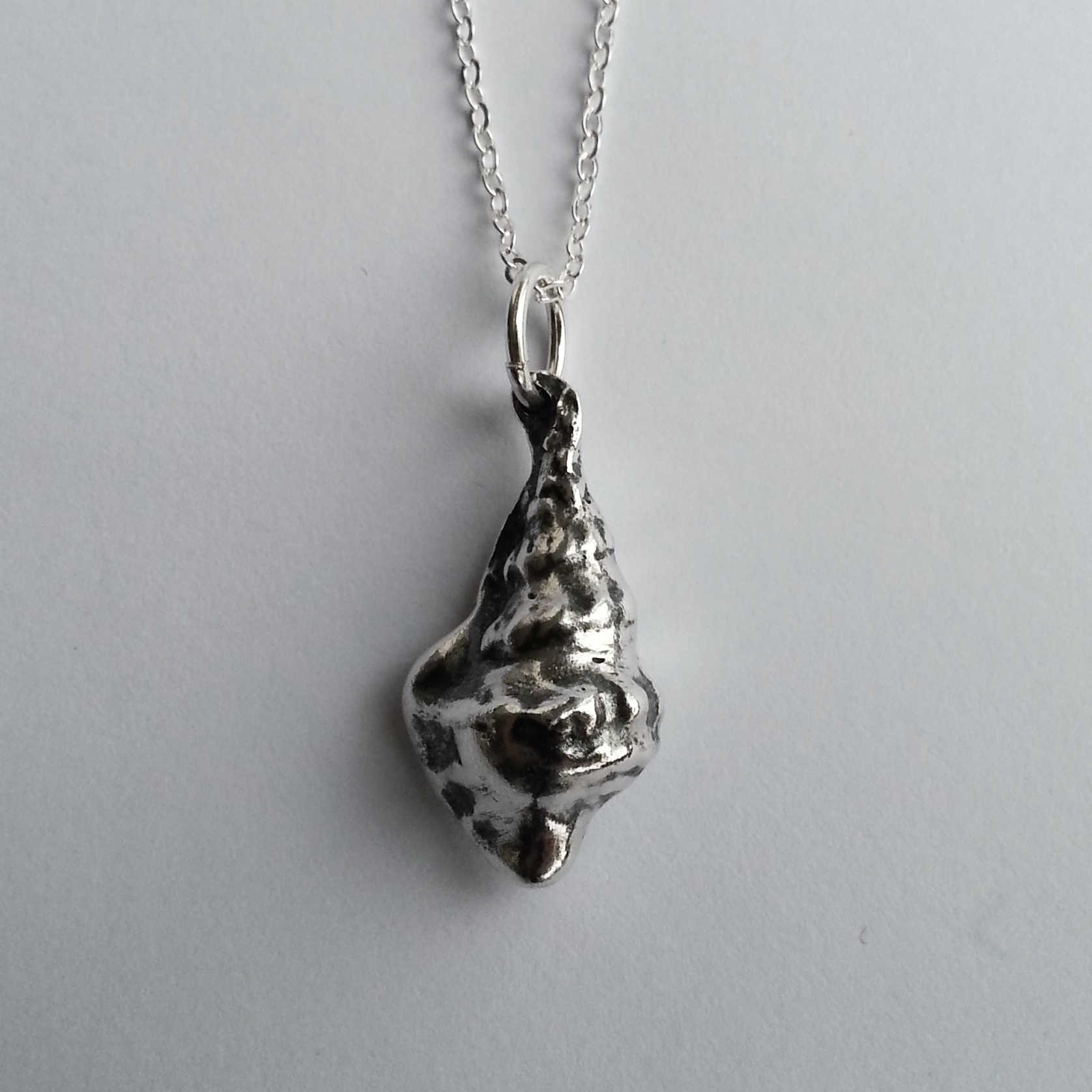 Unique Solid Sterling Silver Seashell Necklace, Handcrafted Original Pendant