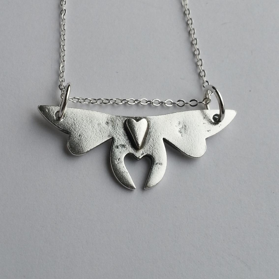 Unique Sterling Silver Love Bug Heart, Original Handcrafted Pendant