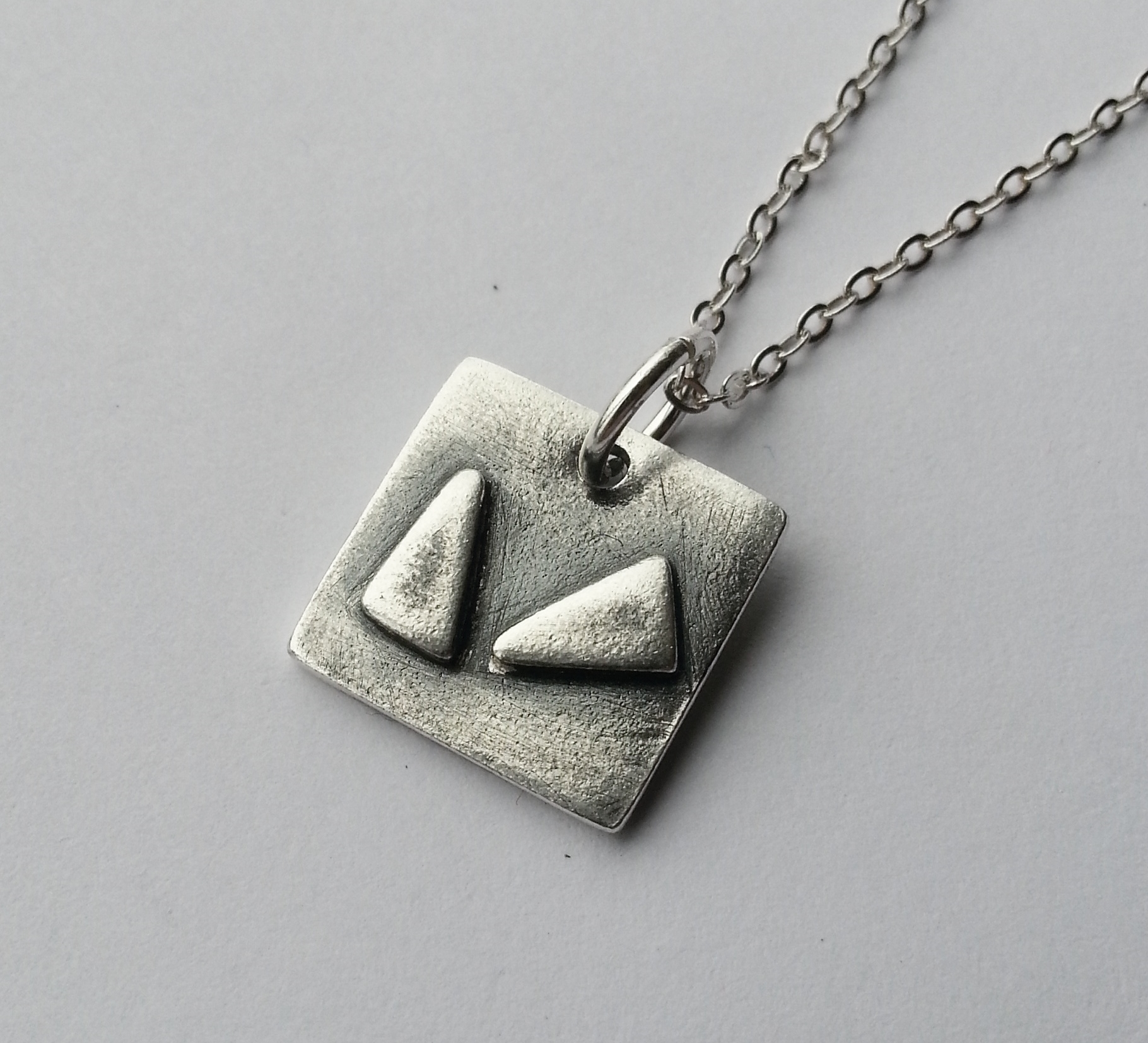Simple Modern Geometric Necklace, Unique Handcrafted from Recycled Silver. Eco-friendly