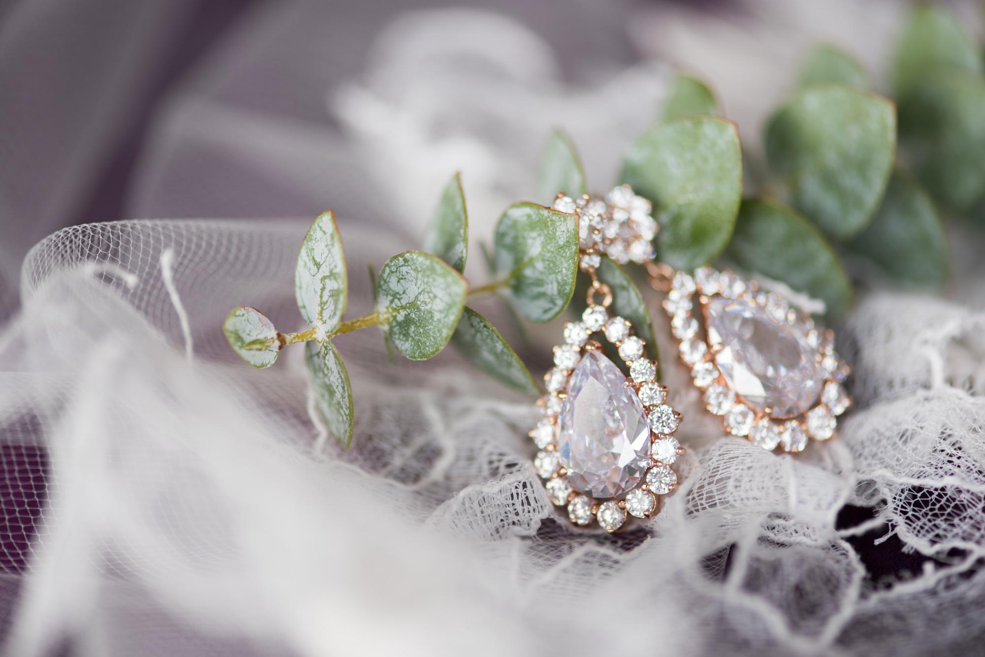 Romantic Jewel Toned Wedding in Virginia Rose Gold Wedding Earrings.jpg