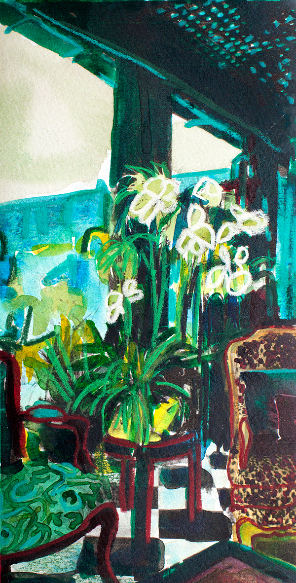 "STUDY OF ORCHIDS AND MALACHITE    7 1/4"" x 3 5/8"""