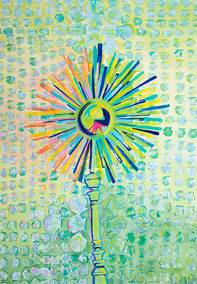 "GREEN SUNBURST    44"" x 30"""