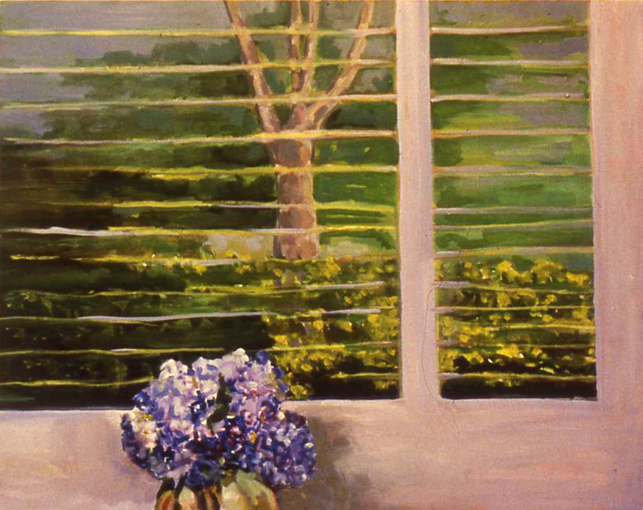 "HYDRANGEA IN HAMPTON WINDOW   22"" x 28"""
