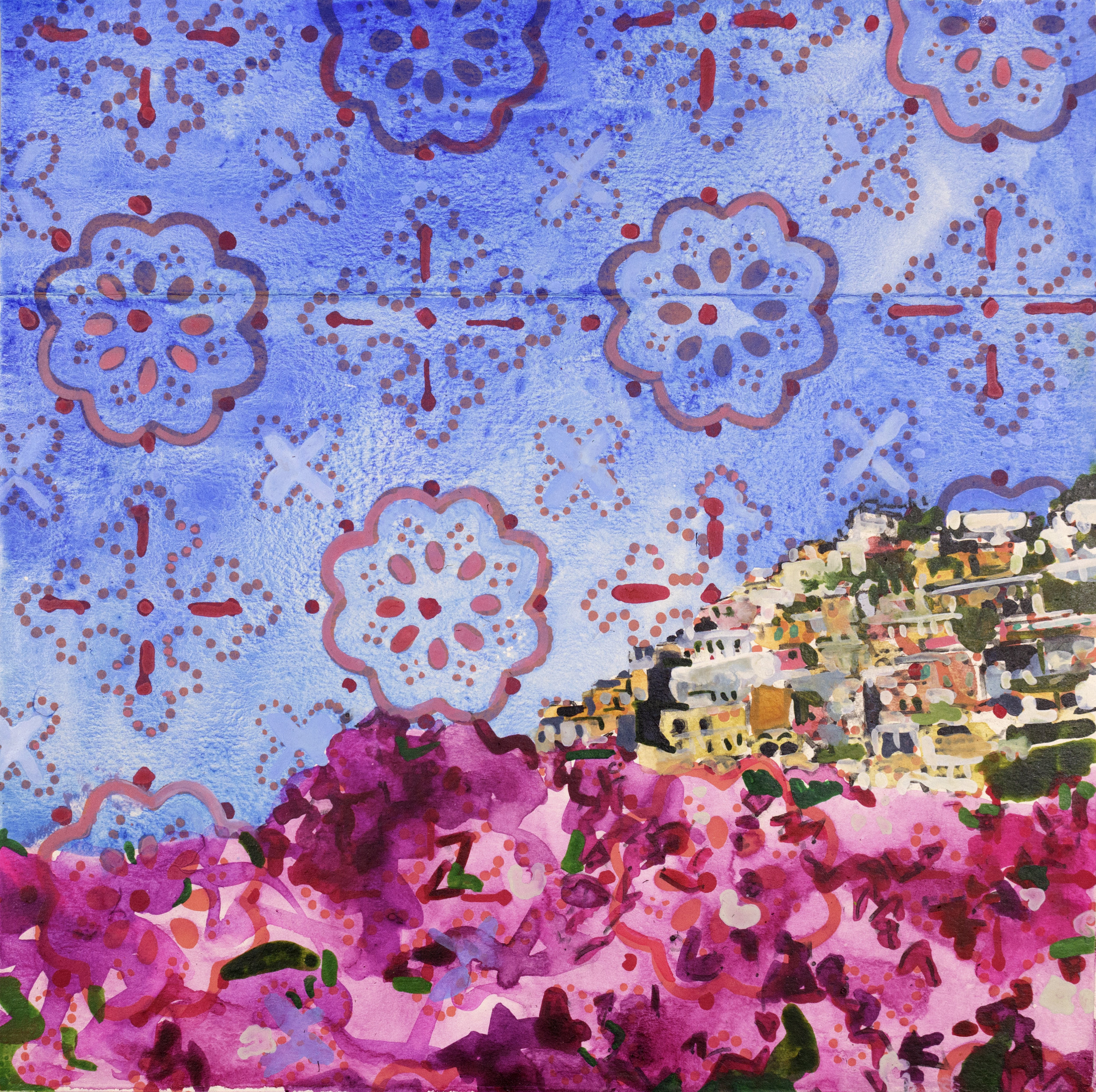 "BLOOMS OVER POSITANO   8"" x 8"""