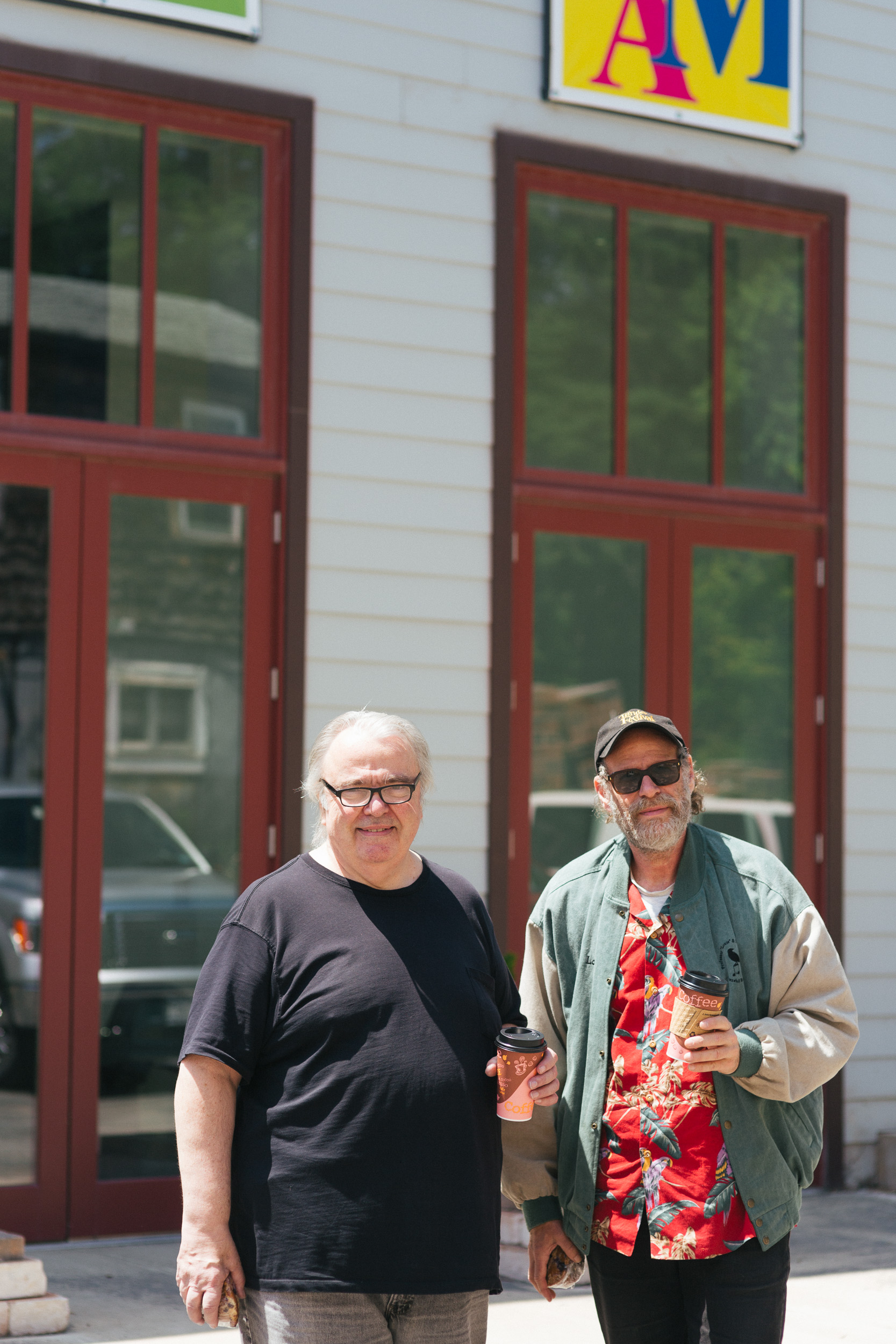 Gary Burke and Professor Louie outside the Orpheum in Tannersville.jpg