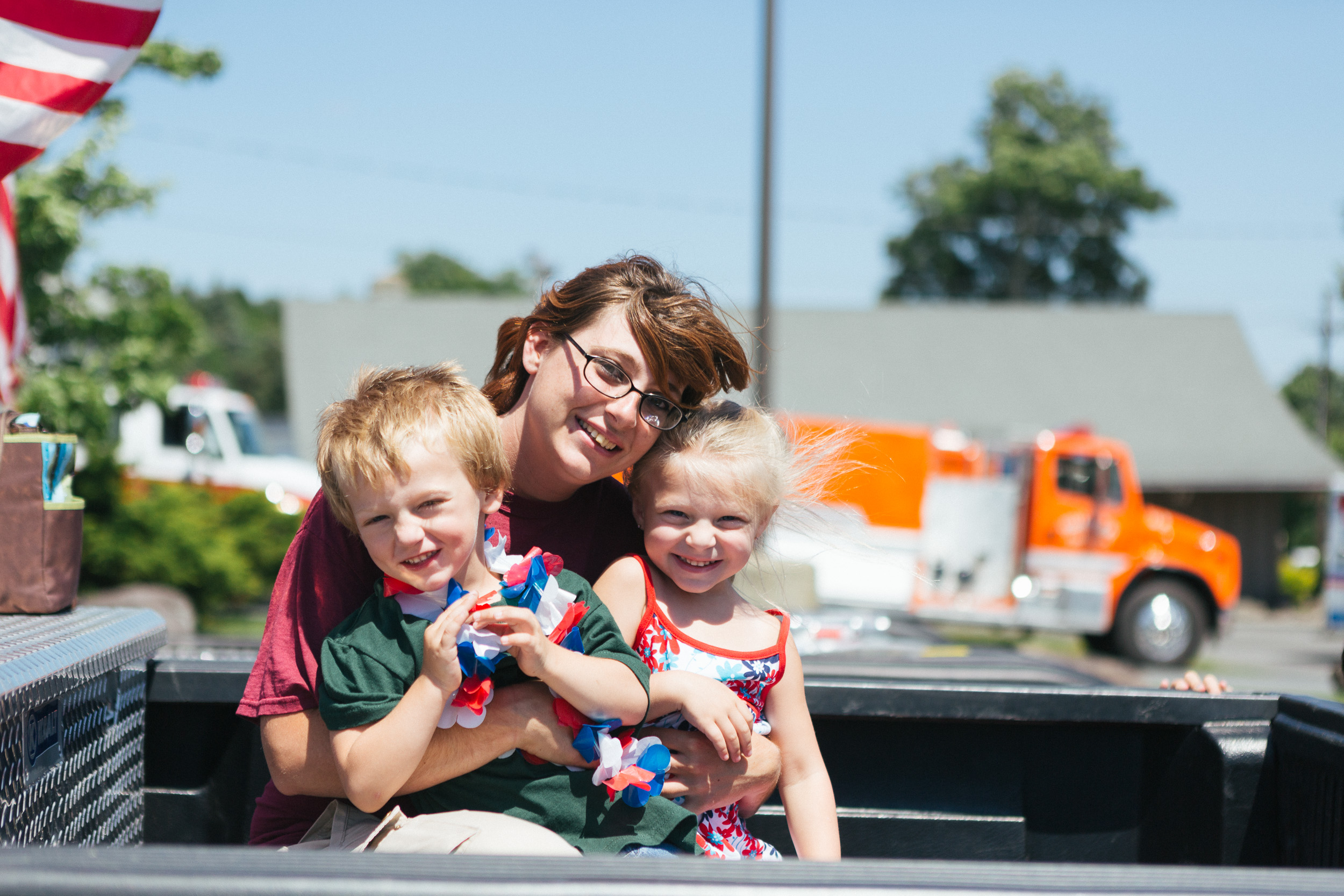 Heather, Stephan and Jaslyn get ready to ride a float in the Tannersville Parade.jpg