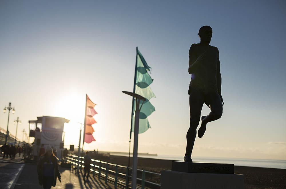 Runner Steve Ovett statue on Brighton sea front.Vitality Brighton Half Marathon held on Sunday 22nd February 2015.Photo credit : Chris Winter