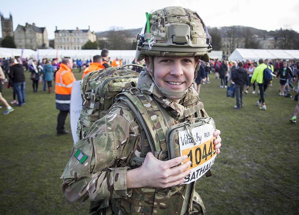 Reservist Amyas Godfrey raising money for Combat Stress preparing for the Vitality Bath Half Marathon. 1st March 2015.Photo credit : Chris Winter
