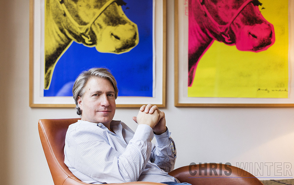 Portraits of Stephan Shakespeare shot at his home in the Barbican, London.