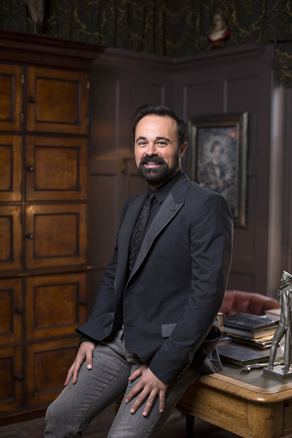 Portraits of Evgeny Lebedev at his residence Stud House, Hampton Court, London.
