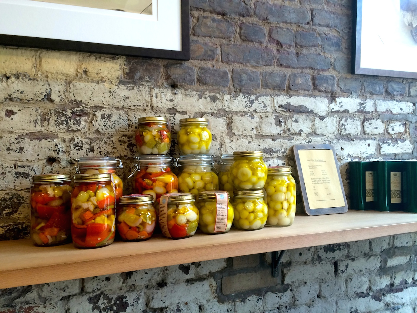 Preserved veg at The Ham and Cheese Company