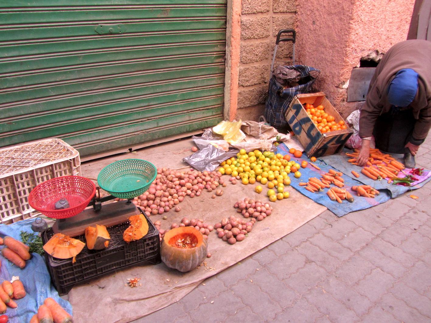 Vegetable street stall in Marrakech