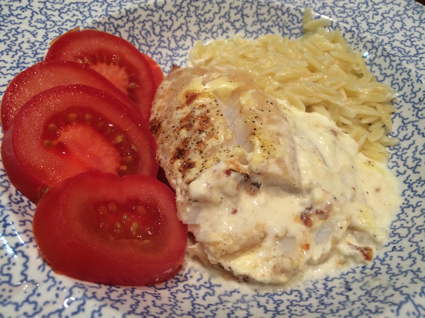Haddock a la Creme with fresh tomatoes and orzo pasta