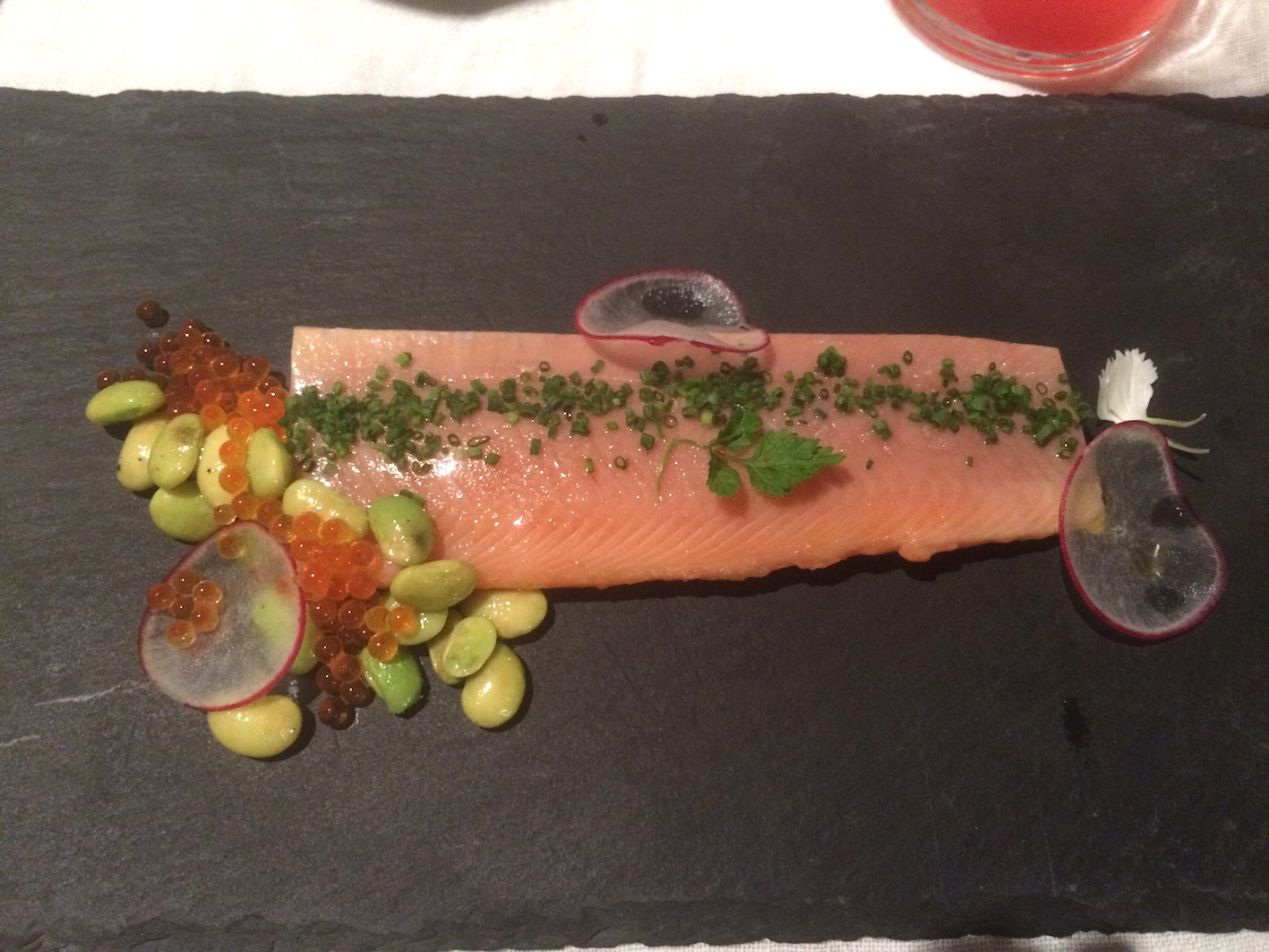 Delicately smoked trout at Bella Riva Hotel, Gardone Riviera, Italy