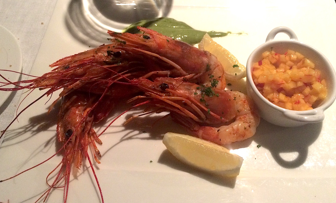 Giant prawns at Bella Riva Hotel