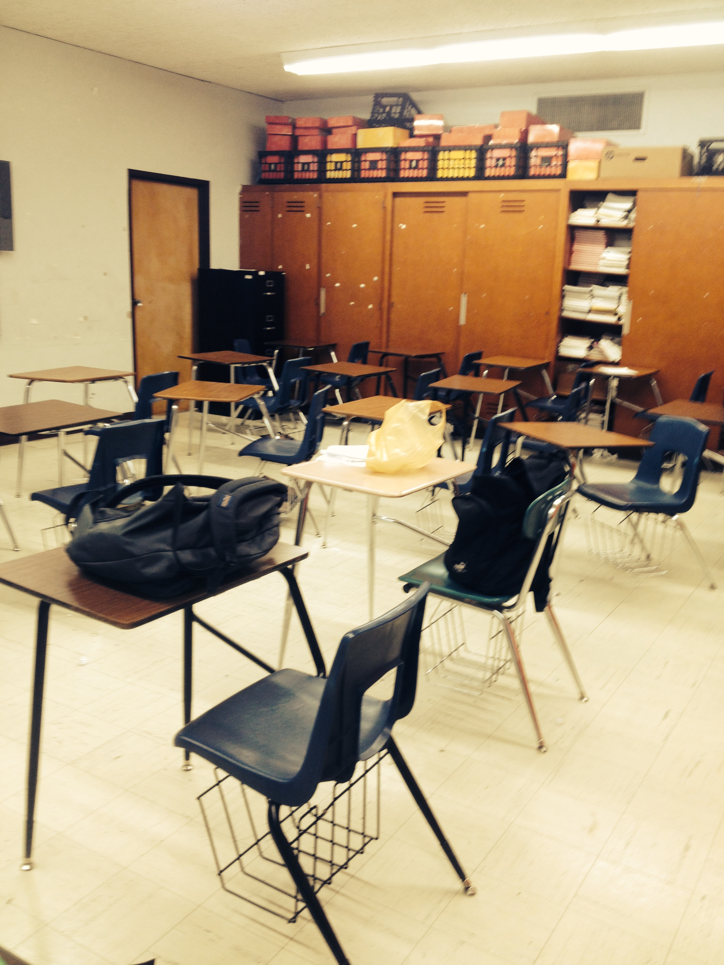 Temporary classroom after my classroom heater caught fire. Never a dull moment.