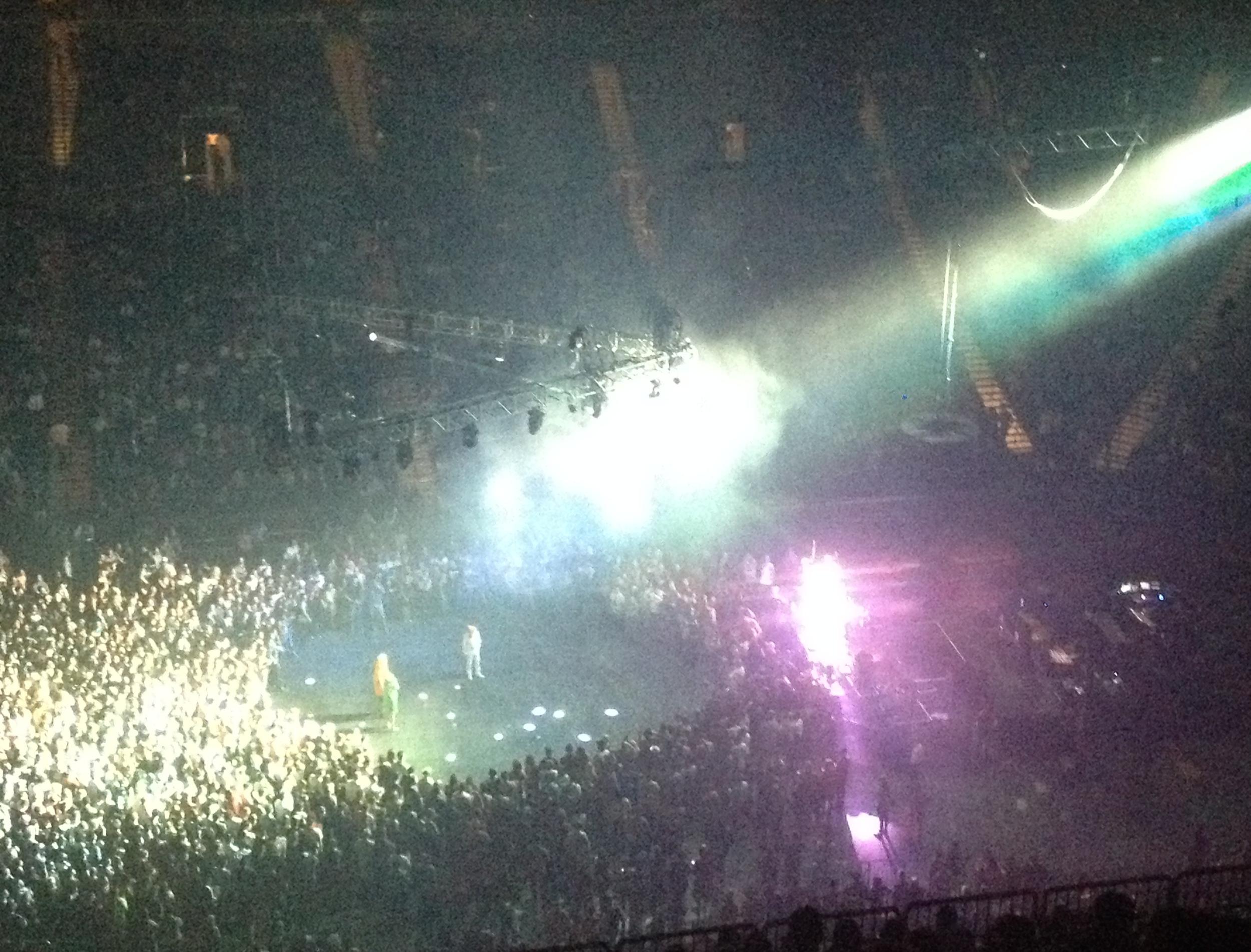 Dan Deacon as DJ prior to Arcade Fire. Crazy dance moves occurring.
