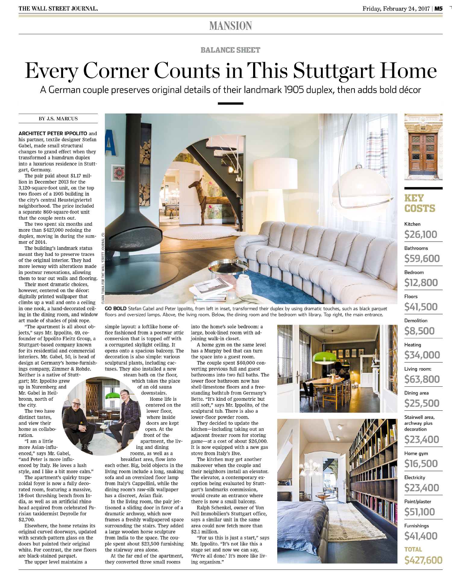 Interior shoot for The Wall Street Journal - Mansion