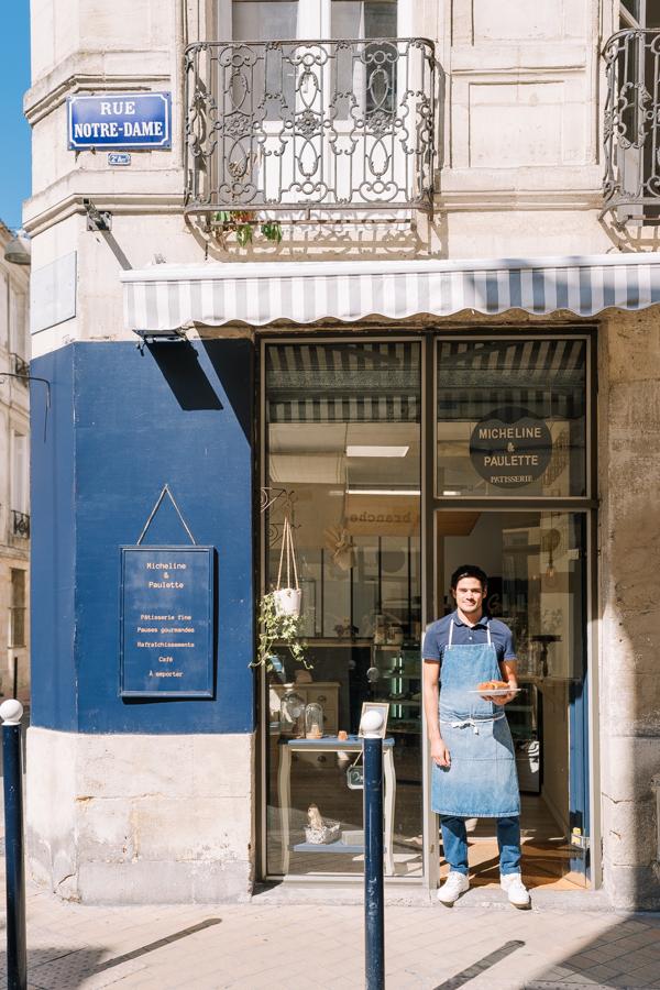 """Valentin, pâtissier at """"Pâtisserie Micheline et Paulette"""" on Rue Notre Dame in Bordeaux."""