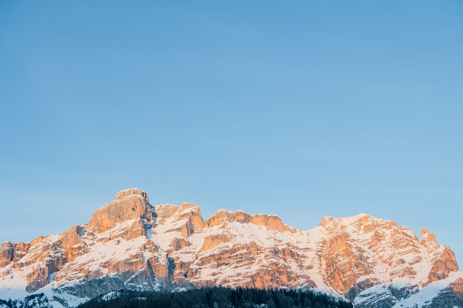 The Dolomites at sunset, seen from the village of San Cassiano