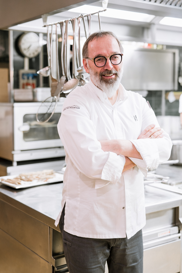 Norbert Niederkofler, chef at St. Hubertus, in the kitchen of his 3-star michelin restaurant in the Hotel Rosa Alpina, San Cassiano