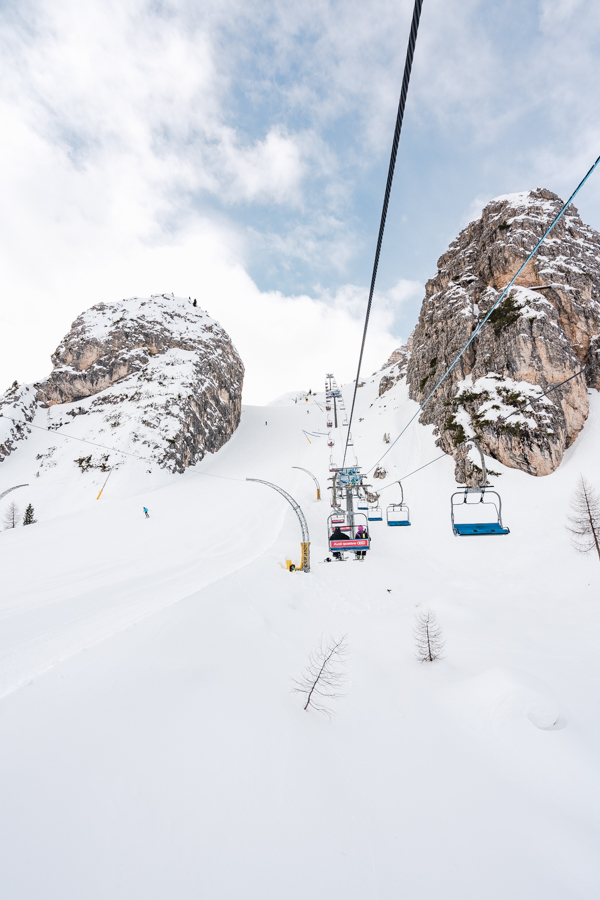 "Cortina d'Ampezzo -  Ski area Tofane: On the lift to the top of the women's downhill run, the ""Schuss""."